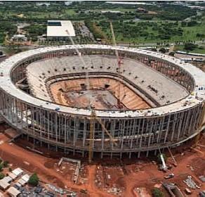 GDF transfere de áreas sensíveis de Brasíia R$ 100 milhões para o Mané Garrincha. Estágio da obra em dezembro de 2012. Foto: Divulgação.